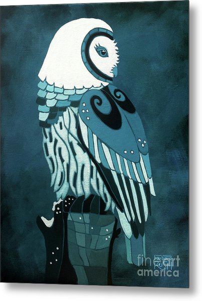 Retrospect In The Moonlight Owl Metal Print