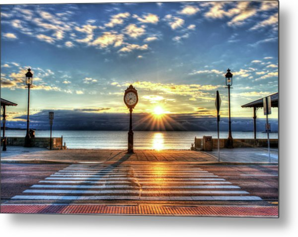 Revere Beach Clock At Sunrise Angled Long Shadow Revere Ma Metal Print