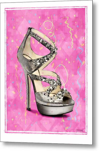 Rhinestone Party Shoe Metal Print