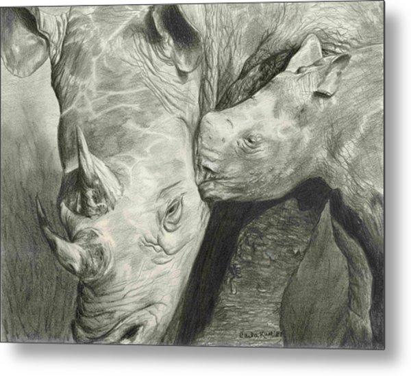Rhino Love Metal Print