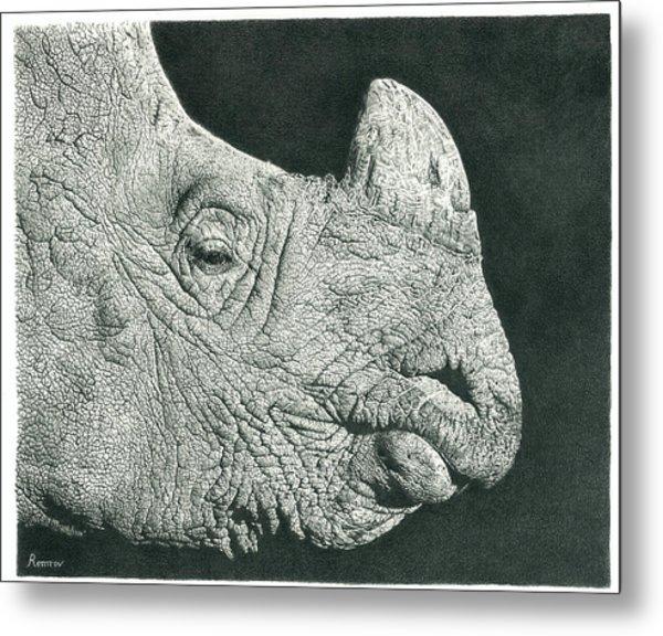 Rhino Pencil Drawing Metal Print