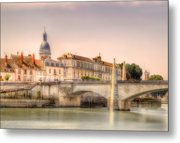 Bridge Over The Rhone River, France Metal Print