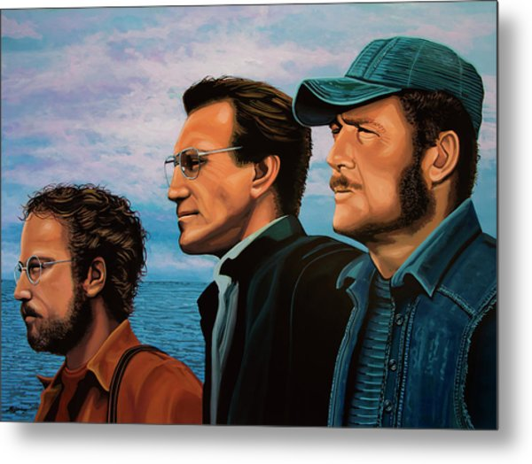 Jaws With Richard Dreyfuss, Roy Scheider And Robert Shaw Metal Print