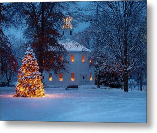 Richmond Vermont Round Church At Christmas Metal Print