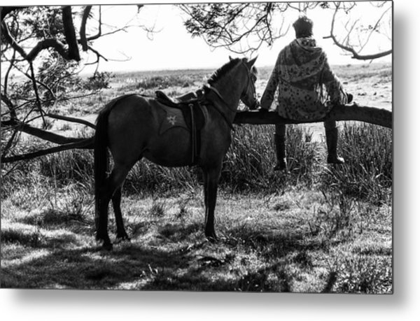 Metal Print featuring the photograph Rider And Horse Taking Break by Pradeep Raja Prints