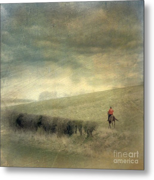 Rider In The Storm Metal Print