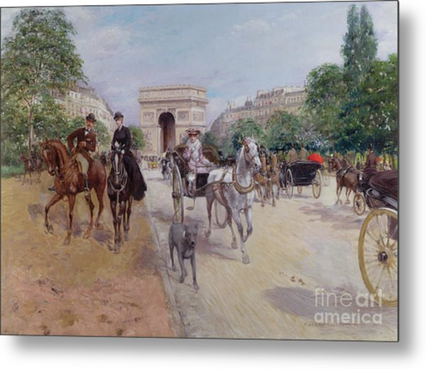 Riders And Carriages On The Avenue Du Bois Metal Print