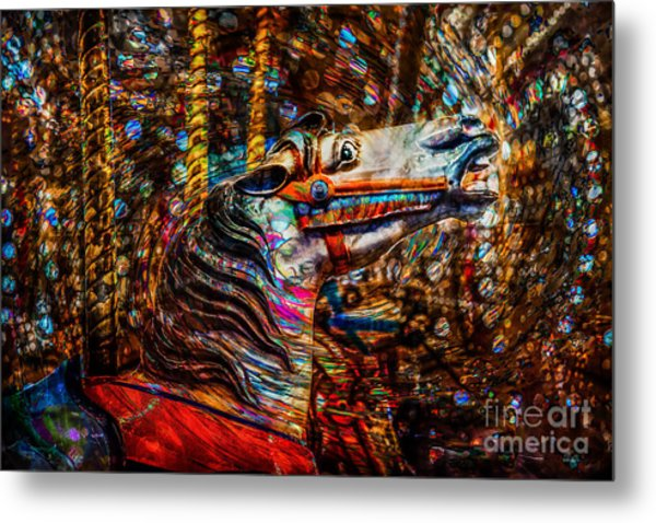 Metal Print featuring the photograph Riding A Carousel In My Colorful Dream by Michael Arend