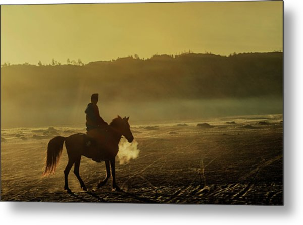 Metal Print featuring the photograph Riding His Horse by Pradeep Raja Prints