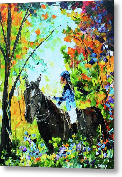 Metal Print featuring the painting Riding In The Woods by Kevin Brown