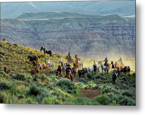 Riding Out Of The Sunrise Metal Print