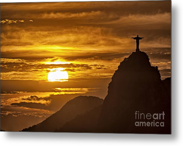 Metal Print featuring the photograph Rio De Janeiro Christ Statue by Juergen Held