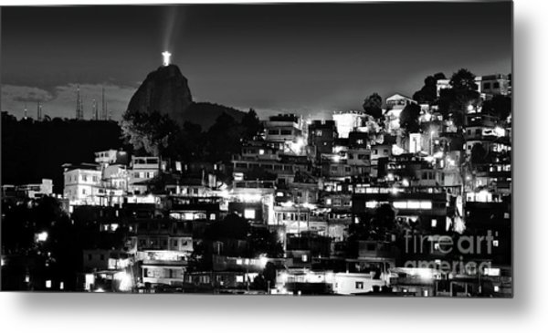 Rio De Janeiro - Christ The Redeemer On Corcovado, Mountains And Slums Metal Print