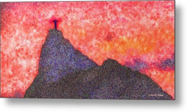 Rio De Janeiro Red Sunset - Da Metal Print