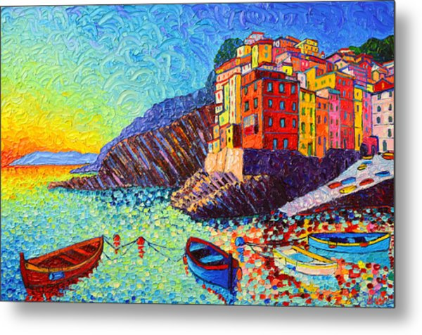 Riomaggiore Sunset - Cinque Terre Italy - Palette Knife Oil Painting By Ana Maria Edulescu Metal Print