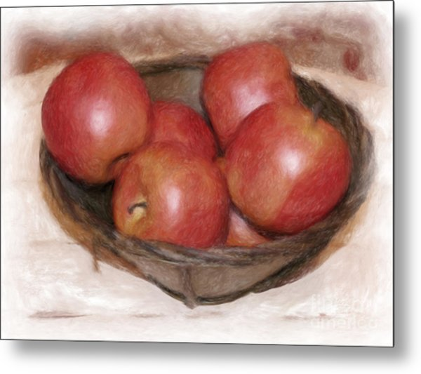Ripe Red Apples Metal Print by Susan  Lipschutz