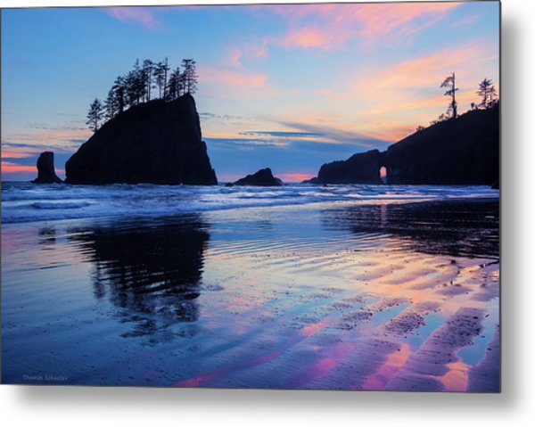 Metal Print featuring the photograph Ripple Reflections Of Dusk At Second Beach by Expressive Landscapes Fine Art Photography by Thom