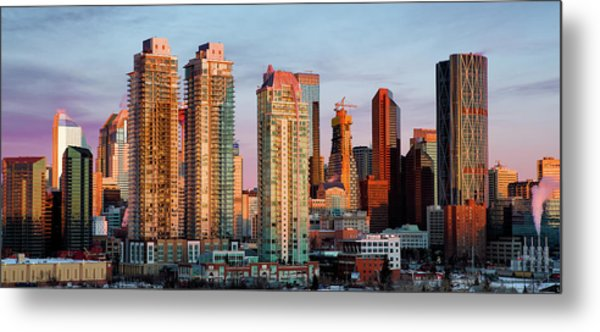 Metal Print featuring the photograph Rising Sun On Calgary by David Buhler