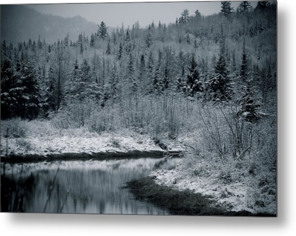River Bend Winter Metal Print by Todd Bissonette