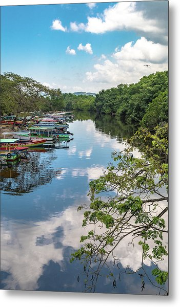 River Boats Docked In Negril, Jamaica Metal Print