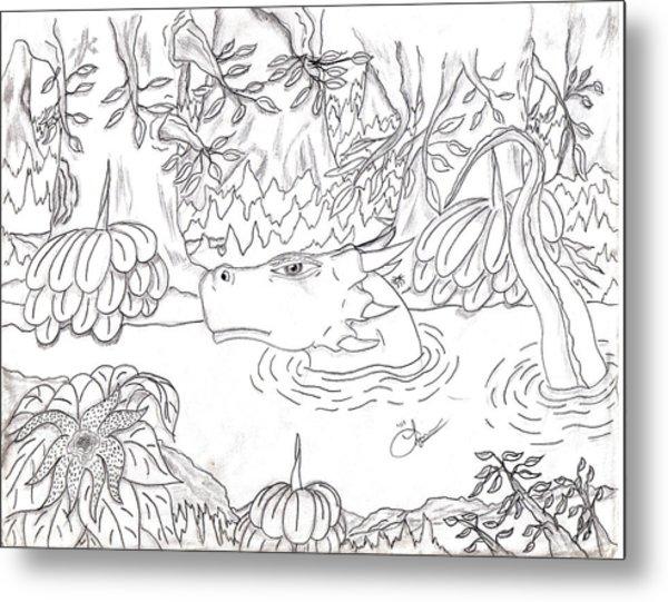 River Dragon Metal Print by Lynnette Jones