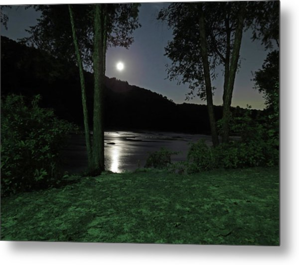 River In Moonlight Metal Print