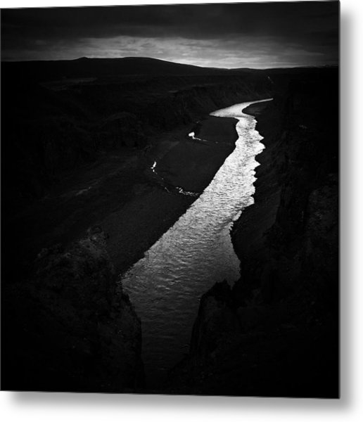 River In The Dark In Iceland Metal Print