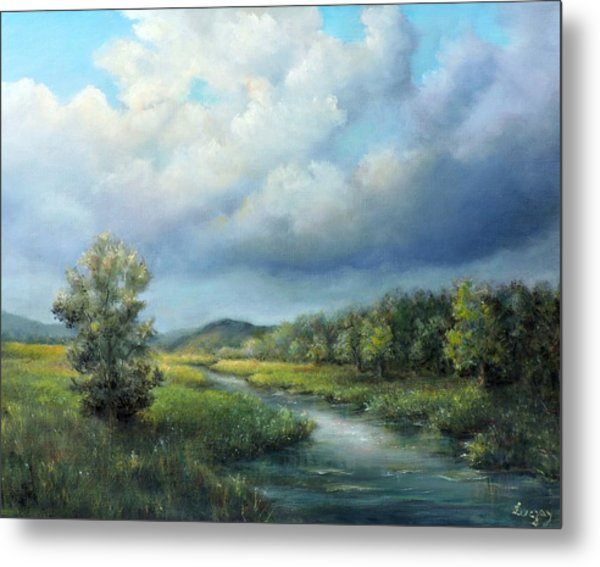 Metal Print featuring the painting River Landscape Spring After The Rain by Katalin Luczay
