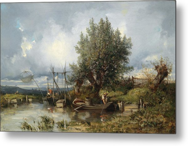 River Landscape With Anglers Metal Print