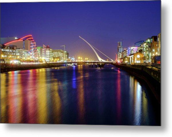 River Liffey In Dublin At Dusk Metal Print