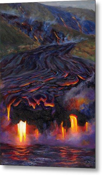 River Of Fire - Kilauea Volcano Eruption Lava Flow Hawaii Contemporary Landscape Decor Metal Print