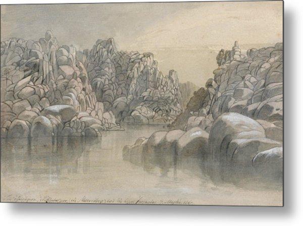 River Pass Between Semi Barren Rock Cliffs Metal Print
