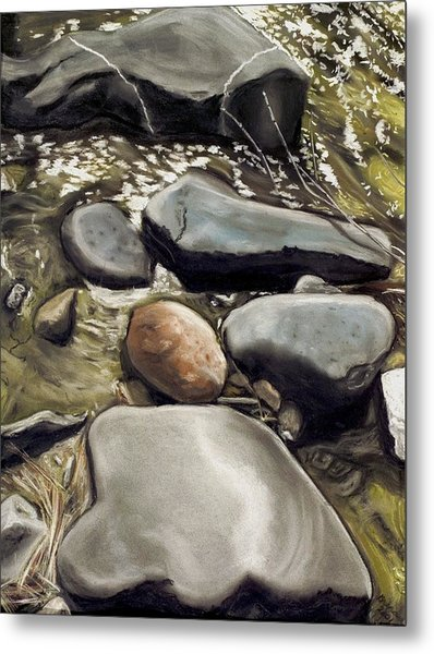 River Rock Formations Metal Print by Brenda Williams