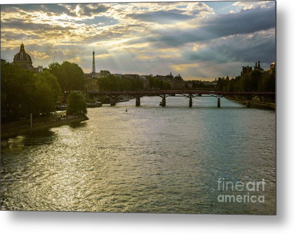 River Seine At Dusk Metal Print