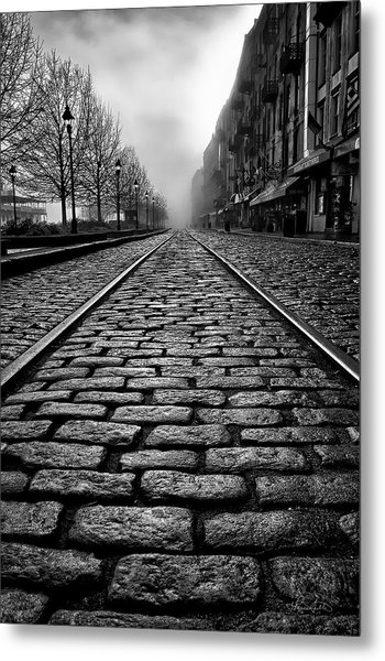 River Street Railway - Black And White Metal Print