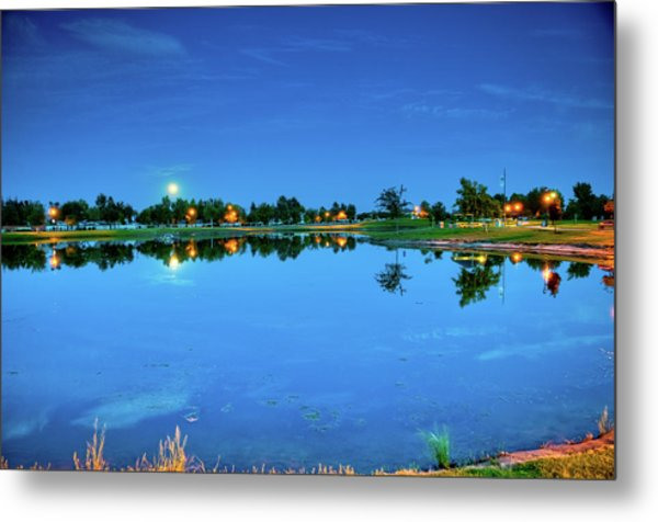 River Walk Park Full Moon Reflection 3 Metal Print