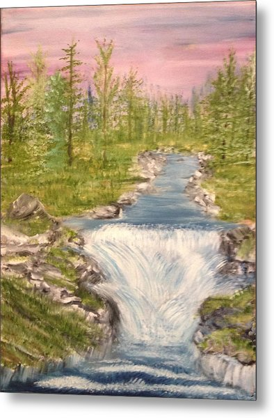 River With Falls Metal Print