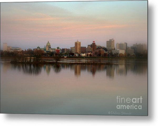 Riverfront At Dusk Metal Print by Debra Straub
