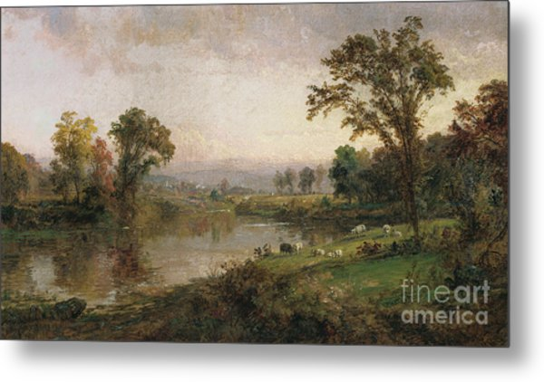 Riverscape In Early Autumn Metal Print