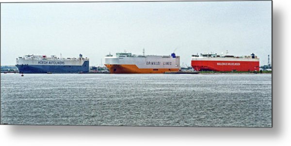 Metal Print featuring the photograph Ro Ro Freighters Lined Up At Curtis Bay by Bill Swartwout Fine Art Photography
