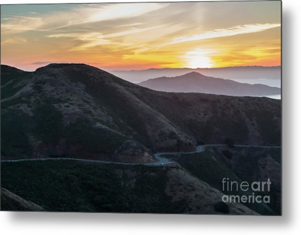 Road On The Edge Of The Mountain With Sunrise In The Background Metal Print
