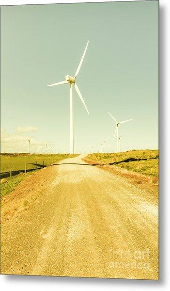 Road To Green Farming Metal Print