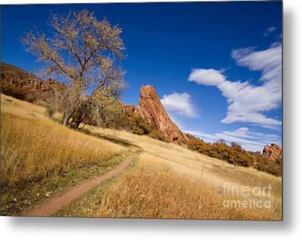 Road To The Rocky Blue Metal Print by Andrew Serff