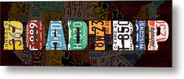 Road Trip Usa Map Recycled Vintage License Plate Lettering Phrase Metal Print