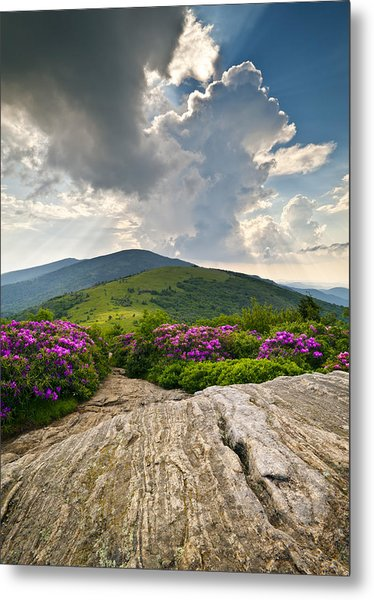 Roan Mountain Rays- Blue Ridge Mountains Landscape Wnc Metal Print