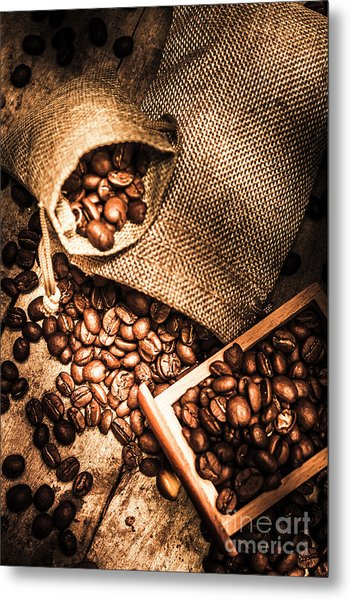 Roasted Coffee Beans In Drawer And Bags On Table Metal Print