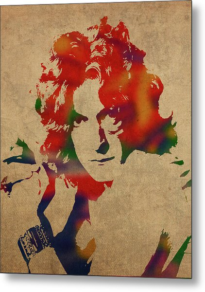 Robert Plant Led Zeppelin Watercolor Portrait Metal Print