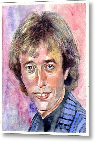 Robin Gibb Portrait Watercolor Metal Print