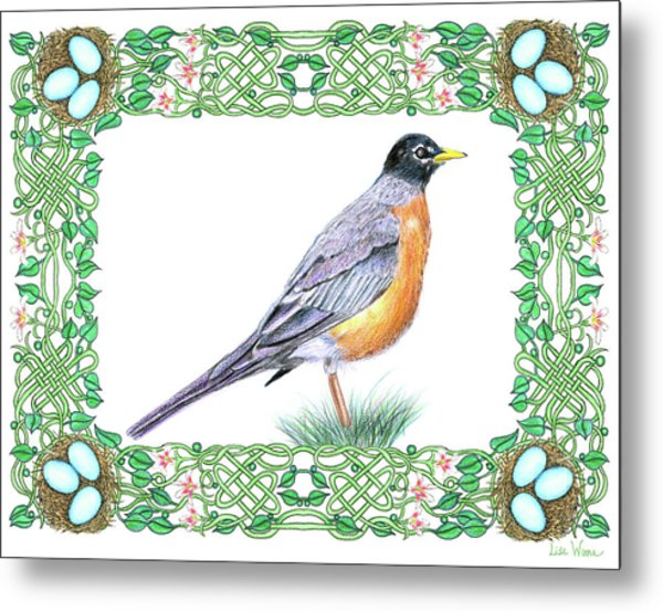 Robin In Spring Metal Print