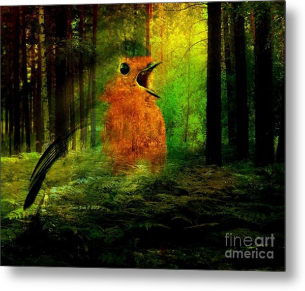 Robin In The Forest Metal Print